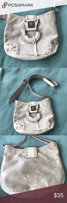 Miss me purse Cute white and shimmery silver miss me purse! Has never left the closet! Miss Me Bags