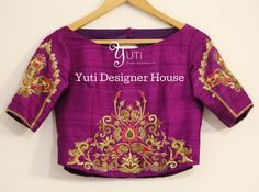 Zardosi embroidered blouse by YUTI! Beautiful wine color designer blouse with lotus flower and lata design hand embroidery gold thread and zardosi work. For Price and Other details reach us at 044-42179088 or Whatsapp: 7010905260. 31 May 2018