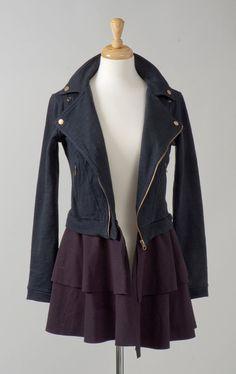Womens clothing repurposed jersey biker black jacket dress S. $145.00