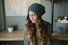Slouchy hat, gray, dark gray, women, men, teen, unisex, hat, beanie, snowboarding, skateboarding, gray, fall, winter, spring, mothers day. $35.00, via Etsy.