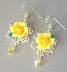Yellow flower earrings romantic silver filigree lemon floral Yellow Flowers, Pink Roses, Flower Earrings, Drop Earrings, Daffodil, Silver Filigree, Swarovski Crystals, Polymer Clay, Feather