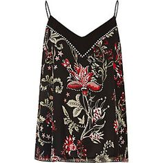 Womens Blue flower embroidered cami top River Island Latest Sale New Cheap Browse Cheap Visa Payment P62gj77cH