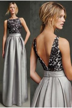Lace prom dress, ball gown, cute black lace top grey satin long evening dress for prom 2017