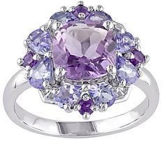 Sterling 2.95 cttw Amethyst & Tanzanite Ring