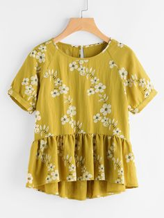Shop Botanical Print Raglan Sleeve Hi Lo Smock Top online. SheIn offers Botanical Print Raglan Sleeve Hi Lo Smock Top & more to fit your fashionable needs.