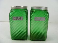 vintage antique old dark green depression glass canister jars coffee and sugar
