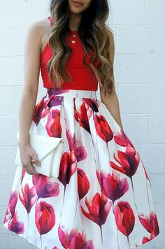 Red Floral Print Pleated High Waisted Below Knee Vintage Cute Midi Skirt. See similar outfits @ http://momsmags.net