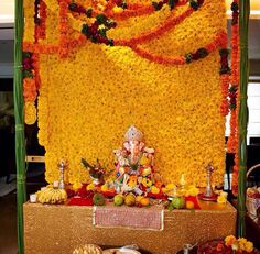 Best Flowers Decorations For Home Pooja 69 Ideas Gauri Decoration, Mandir Decoration, Ganapati Decoration, Flower Decoration For Ganpati, Ganpati Decoration Design, Flower Decorations, Wedding Decorations, Ganesh Chaturthi Decoration, Happy Ganesh Chaturthi Images