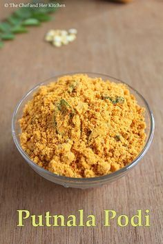Kadale podi  1 cup Fried gram 1/4 cup Dry Coconut pieces 7-8 Red Chillies 1 small amla sized Tamarind 2 tsp Cumin Seeds 2 tsp Sugar 1 tsp Mustard seeds a Sprig of Curry leaves Salt to taste 2 tbsp Oil