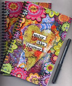 Joanna Grant Mixed Media Art: art journal Colorful and pretty! Art Journal Pages, Journal D'art, Wreck This Journal, Journal Covers, Art Journals, Journal Notebook, Custom Journals, Journal Ideas, Mix Media
