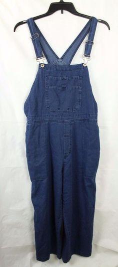 Columbia overalls Womens  Size XL Denim Bib Romper Cropped Carpenter #Columbia #Romper #Casual