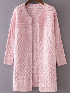 Розовый длинный кардиган с бисером с вязаным узором