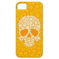 Yellow Wild Flowers Skull iPhone 5 Covers