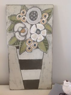 Floral painting on wood. Mary DeMaagd Would look great with orange flowers. Motif Floral, Arte Floral, Folk Art Flowers, Flower Art, Spring Painting, Art Techniques, Painting Inspiration, Art Lessons, Zentangle