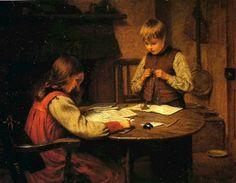 """""""Homework"""". Harry Brooker (1848-1940), British painter."""