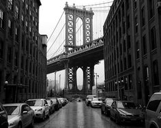 This original black-and-white Brooklyn canvas print would look great on any wall in your house or office! This famous streetscape on Brooklyn's waterfront in the now-trendy but formerly industrial nei