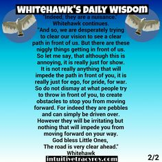 Morning Little Hawks, Whitehawk gives us insight into our week ahead. #intuition #guidance #support