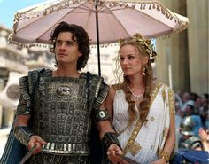 "Diane Kruger and Orlando Bloom portray the characters of Helen and Paris respectively in the movie ""Troy""........."