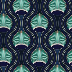 Mitchell Black Home Riviere Marine Prepasted Wallpaper Motifs Art Nouveau, Motif Art Deco, Art Deco Design, Art Deco Fabric, Design Design, Art Deco Wallpaper, Paper Wallpaper, Wallpaper Roll, Art Deco Artwork