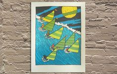 """High Tide On White LakeOnward Illinois by Jay Ryan of The Bird Machine 18""""x24"""" Screen Printed Edition of 170"""