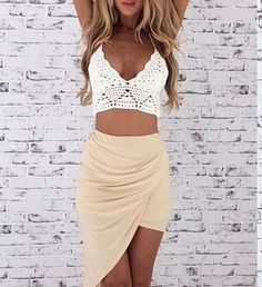Draped skirt and knit crop top. Stylish summer outfit