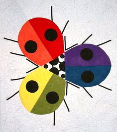 Ladybug Rainbow Quilt and Pillow Pattern, Charley Harper's Quilts by Treglown Designs at Creative Quilt Kits Quilt Modernen, Bug Art, Charley Harper, Rainbow Quilt, Affinity Designer, Insect Art, Barn Quilts, Applique Quilts, Quilting Fabric