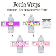 Gymnastics Party water bottle wraps