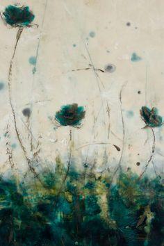 Original Encaustic Bees wax Painting wild flowers by SwallaStudio