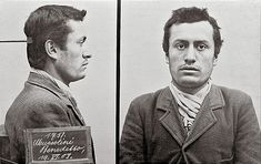 Young Benito Mussolini mugshot from when he was arrested by Swiss police for supporting a violent general strike in 1903.