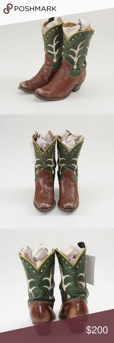 """Acme Vintage 1940s Leather Shortie Cowboy Boots These stunning boots from the 40s show the craftsmanship of the era in a timeless style. Genuine leather Brown & green decorated with white designs and yellow piping  Approx. 9.5"""" heel to toe in length Approx. 10"""" tall including 2"""" heel Approx. 3.25"""" across the widest part of the sole  These boots have been well loved over the last half century, and have a lot of life left in them. No holes or major structural concerns, but some scuffing…"""