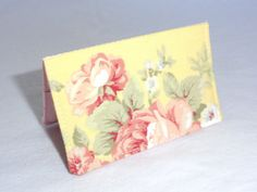Romantic Pink Roses on Yellow Floral Business Card by ShastaBlue, $8.00