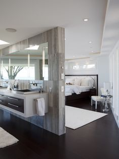 Perfect and Great Master Bathroom Floor Plans: Contemporary Bathroom Modern Floor Plan And Illuminate The Luster Of The Dark Bamboo Flooring And Zebra Wood Cabinetry Plus Custom Designed King Size Bed And Mirrored Wall ~ bofou.net Bathroom Inspiration