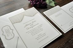 Moroccan wedding invitations with gold quatrefoil