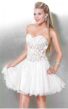 Amazing Ball Gown Short Sweetheart White Organza Dress