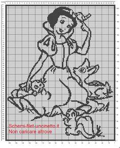 Biancaneve schema copertina lettino con sponde filet uncinetto