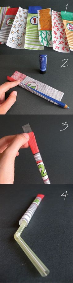 Fun Bday Party Activity - Paper Rockets with a straw To make them you will need paper, glue, scotch tape and a plastic straw. 1. Decorate the paper. 2. Put glue on one of the longer edges. Then role the paper around a pencil starting from the opposite side. 3. Close the top of the rocket with scotch tape. 4. Insert a plastic straw and you are ready to go.