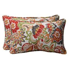 "Outdoor 2-Piece Rectangular Toss Pillow Set -  Green/Off-White/Red Floral 18"".Opens in a new window"