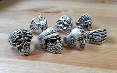 Skull Ring Silver Human Skull Ring Biker Skull Ring Biker