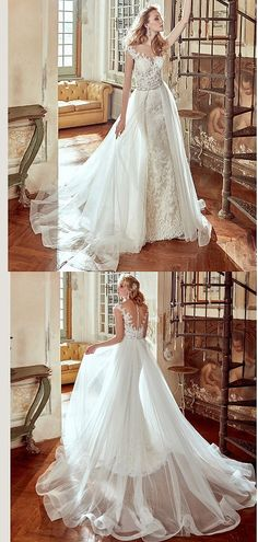 """The perfect wedding dress with a V neck for an autumn wedding <3 This dress is made with lace. Remember to use coupon code """"PTL40901"""" for an extra discount when you spend $200+"""