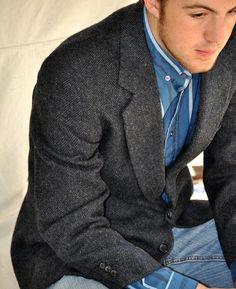 Navy Tweed Blazer with jeans