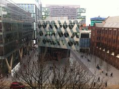 Deansgate end of Spinningfields, including Armani, John Rylands Library and Civil Justice Centre