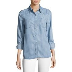Etienne Marcel Long Sleeve Button-Down Denim Shirt (8.850 RUB) ❤ liked on Polyvore featuring tops, light blue, blue denim shirt, light blue button down shirt, blue button down shirt, long sleeve tops and blue button up shirt