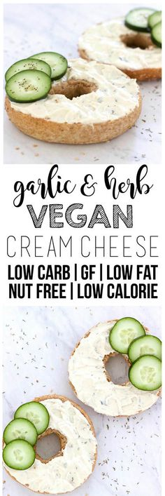 Garlic & Herb Vegan Cream Cheese! Made with tofu - perfectly creamy and spreadable! (Gluten-Free, Nut-Free, Oil-Free, Low-Fat, Low-Carb, Low-Calorie)