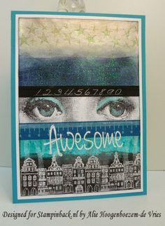 Designed for Stampinback.nl by Alie Hoogenboezem-de Vries - all stamps and the stencil are for sale at Stampinback. Art Journal Pages, Art Journals, Atc Cards, Small Cards, Mixed Media Art, Zentangle, I Card, Cardmaking, Cards