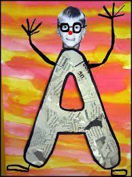 alternative to daily alphabet crafts. Art For Kids, Crafts For Kids, Arts And Crafts, Sons Initiaux, Classe D'art, Name Activities, Alphabet Art, Alphabet Crafts, Letter A Crafts