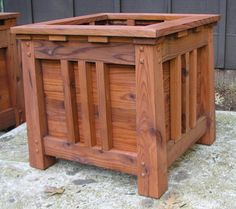 "These custom Mission style planter boxes are made from 100% California harvested redwood thats been milled to spec in my shop. I make them in several standard sizes perfect for trees but any size is possible for shrubs, privacy screens or vegetables.  About the design: The design is inspired by our second favorite architecture. Craftsman, Arts & Craft or Mission. Here in California we call it ""California Bungalow"". The tapered columns have simulated mortis and tenon joinery thats been pin..."