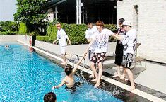 "I knew they would eventually force Jin into the pool!! Taehyung's over there like ""uh.. I don't want to be next."""