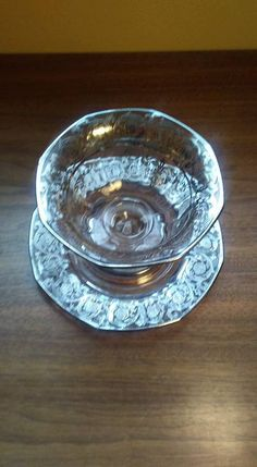 Small Footed Pressed Glass Dish with Applied Sterling Decoration