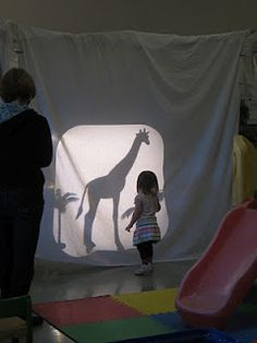 """hang a white sheet from the frame.Then set up the overhead projector on a riser.With the overhead projector is a basket of animals and the book """"Who Will See Their Shadow This Year? Shadow Theme, Shadow Art, Shadow Play, Spring Activities, Sensory Activities, Reggio Emilia, Overhead Projector, Projector Ideas, Communication Orale"""