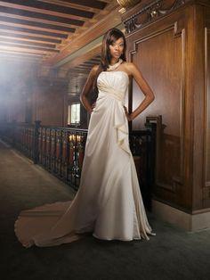 Taffeta Strapless Asymmetrical Sash Side Pleat Bodice A-line Wedding Dress